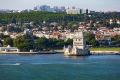 Lisbon, Belem Tower on the Tagus River, Portugal. Torre de Belem royalty free stock images