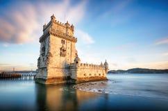 Lisbon, Belem wierza - Tagus rzeka, Portugalia Fotografia Royalty Free