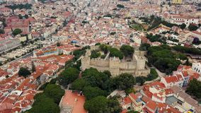 Lisbon from a bird`s eye view. Castle of St. George stock video footage