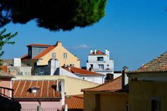 Lisbon Blue Skys & Rooftops. Rooftops from the grounds of São Jorge Castle in Lisbon, Portugal. Traditional red roof tiles and white walled buildings Royalty Free Stock Photography