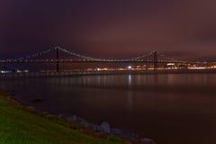 Lisbon Bridge. The 25 de Abril bridge projected by Eiffel is very similar with San Francisco bridge Stock Image