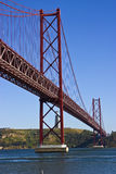 Lisbon Bridge. The 25th of April Bridge in Lisbon - a suspension bridge stretching over the river Tagus Stock Image