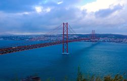 Lisbon Bridge - April 25th, Old Salazar Bridge, Portugal royalty free stock images