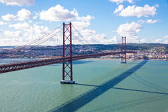 Lisbon Bridge with cityscape Royalty Free Stock Image