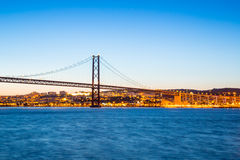 Lisbon Bridge at dusk Royalty Free Stock Photos