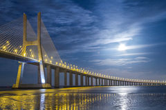 Lisbon Bridge. Vasco da Gama Bridge in Lisbon, Portugal night scene Royalty Free Stock Photo