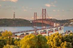 Lisbon Bridge. View from Monsanto of the 25 Abril Lisbon Bridge, Lisbon, Portugal Stock Images