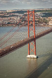 Lisbon Bridgge. View of the 25 Abril Bridge in Lisbon, Portugal Royalty Free Stock Photography