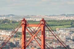Lisbon Bridgge. View of the 25 Abril Bridge in Lisbon, Portugal Stock Photo