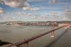 Lisbon Bridgge. View of the 25 Abril Bridge in Lisbon, Portugal Royalty Free Stock Images