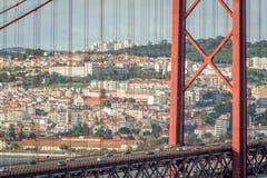 Lisbon Bridgge. View of the 25 Abril Bridge in Lisbon, Portugal Royalty Free Stock Photo