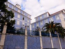 Lisbon. Building with beautilful blue azulejos in Lisbon Royalty Free Stock Image