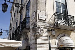 Lisbon Building Corner Decorations. Beautiful decorations on the corner of some old buildings in Lisbon, Portugal Royalty Free Stock Photo
