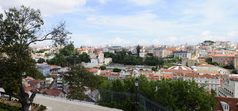 Lisbon Buildings Rooftops Panorama_Uptown_Cityscape Royalty Free Stock Images
