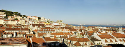 Lisbon Castle, Cathedral and Rooftops Panorama Stock Photography