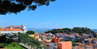 The Lisbon castle and the monastery from Our Lady of the Hill - Miradouro da Graça royalty free stock photos