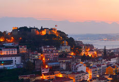 Lisbon castle, Portugal. Castle of Sao Jorge in Lisbon at sunset. Portugal Royalty Free Stock Images
