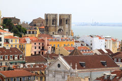 Lisbon and cathedral along Tagus River, Portugal Stock Photo