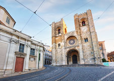 Lisbon cathedral at day, nobody.  stock photos