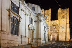 Lisbon Cathedral at Night in Portugal Stock Photo