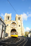 Travel Europe - Old Yellow Tram, Lisbon Cathedral Royalty Free Stock Photo