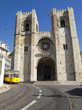 Lisbon Cathedral With Streetcar Stock Images
