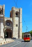 Lisbon Cathedral and traditional old tram, Portugal Stock Image
