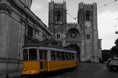 Lisbon Cathedral and tramway Stock Images