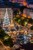 Lisbon at Christmas time. Rossio square decorated with a Christmas tree, in Lisbon Portugal Stock Photos