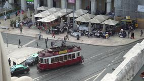 LISBON, circa 2017: Old tram passing by in the old town of Lisbon Portugal. Lisbon is the capital of Portugal. Lisbon is. LISBON, circa 2017: Old tram passing by stock video