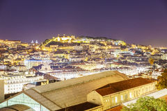 Lisbon city at night Stock Photos