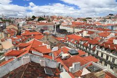 Lisbon city. Scape in Portugal. City view from a miradouro (viewpoint) with Rossio Square royalty free stock photos