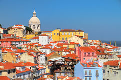Lisbon city colors. Beautiful colorful and vibrant summer cityscape of Lisbon, Portugal Stock Images