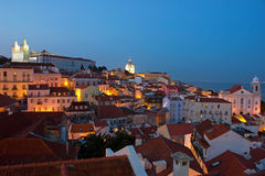 Lisbon City Lights Panoramic Alfama View Royalty Free Stock Images