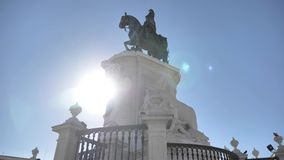 Lisbon city monument sun 4k. A monument in the city center of Lisbon. 4k quality stock video footage