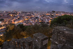 Lisbon city at night from above Stock Images