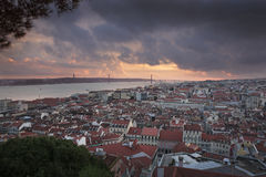 Lisbon city at night from above Royalty Free Stock Image
