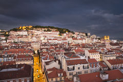 Lisbon city at night from above Stock Photography