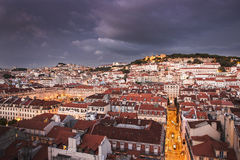 Lisbon city at night from above Stock Image
