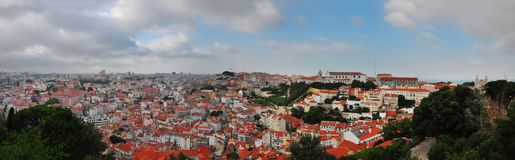 Lisbon city panorama. Lisbon city portugal old center panorama view stock image