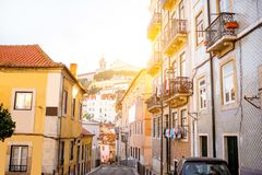 Lisbon city in Portugal. Beautiful street view with beautiful residential buildings in Mouraria district during the morning light in Lisbon city, Portugal stock photography