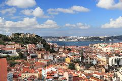 Lisbon city, Portugal. Lisbon cityscape in Portugal. City view from a miradouro (viewpoint) with Sao Jorge Castle royalty free stock photos