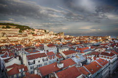 Lisbon city skyline from above Stock Images