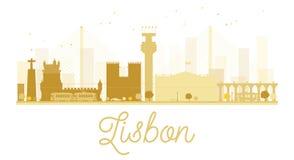 Lisbon City skyline golden silhouette. Royalty Free Stock Images