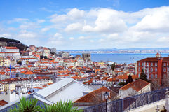 Lisbon city spring skyline from park Gloria viewpoint Royalty Free Stock Photos