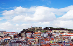 Lisbon city spring skyline from park Gloria viewpoint Stock Photo