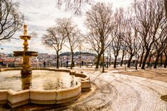 Lisbon city square with panorama on Alfama Stock Photos