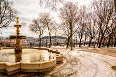 Lisbon city square with panorama on Alfama Stock Photos