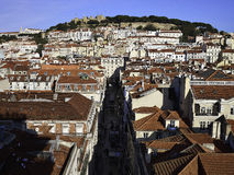 Lisbon city with the St Jorges castle in the background Stock Photos