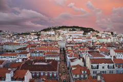 Lisbon city in sunset from above Royalty Free Stock Images